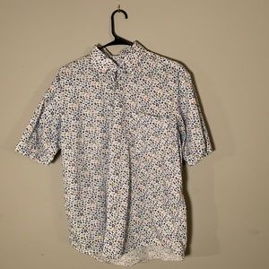 Butterfly Print Short Sleeve Button Up
